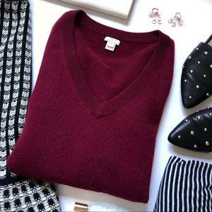J. Crew Factory Burgundy Cashmere V-neck sweater